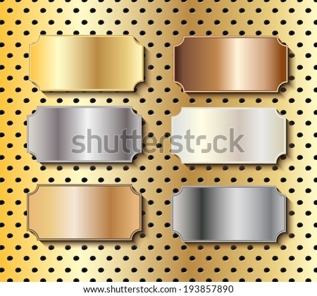 Figured metal door plaques in gold, silver, brass, copper, white gold and steel with copy space on tech background, vector illustration - stock vector