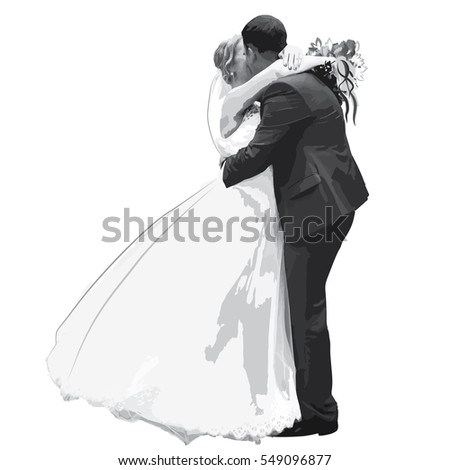 Figures hugging honeymooners - bride and groom in shades of gray - vector