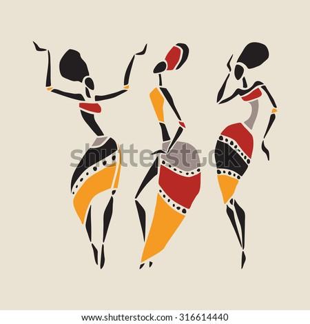 Figures of african dancers. Dancing woman in ethnic style. Vector  Illustration. - stock vector