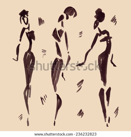 Figures of african dancers. Hand drawn Vector Illustration.