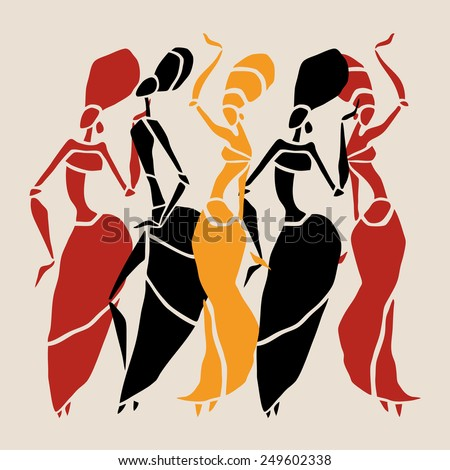 Figures of african dancers . Vector  Illustration. - stock vector