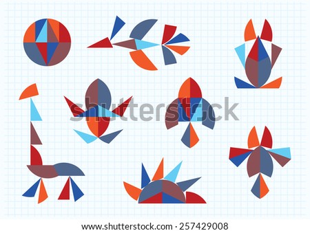 figures of animals and birds on a white background Tangram