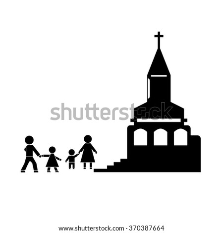 Figures of people. People go to church family. The family attends church. Symbols of people. - stock vector