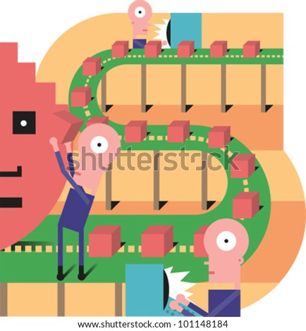 Figures working on an assembly line in the shape of a dollar sign, logging in orders on computers - stock vector