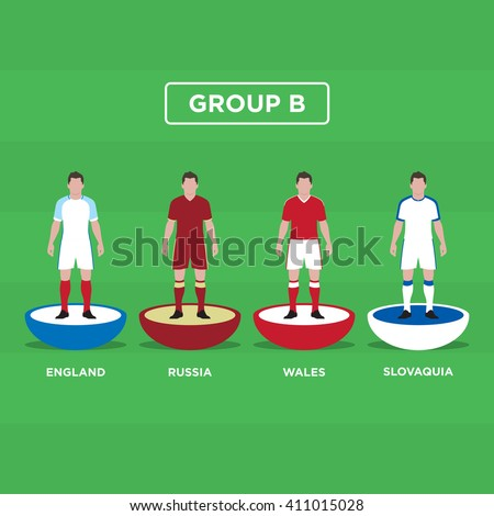 Figurine Football (Soccer), group B. Editable vector design.  - stock vector