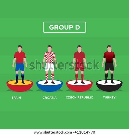 Figurine Football (Soccer), group D. Editable vector design.  - stock vector