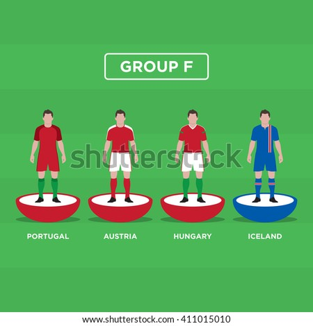 Figurine Football (Soccer), group F. Editable vector design.  - stock vector