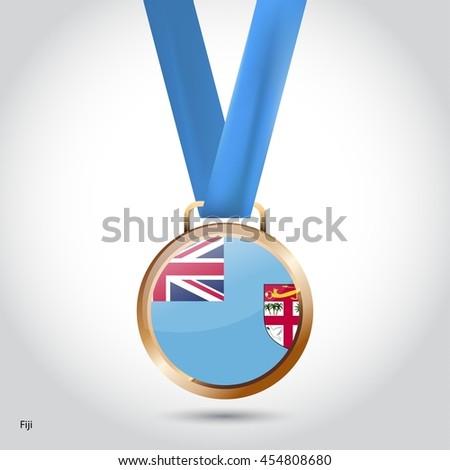 Fiji Flag in Bronze Medal. Olympic Game Bronze Medal. Vector Illustration - stock vector