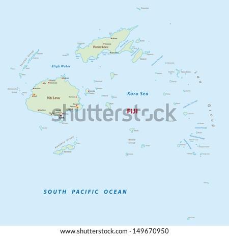 Fiji Political Map Capital Suva Republic Stock Vector - Republic of fiji map