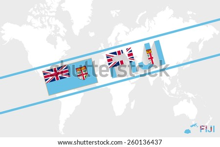 Fiji map flag and text illustration, on world map