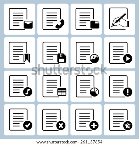 file and document icons set, vector icons