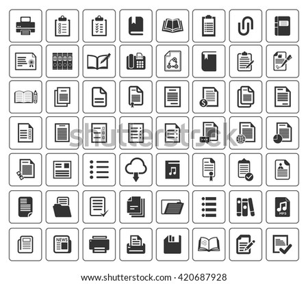 File and folder icons set - stock vector