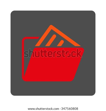File Archive vector icon. Style is flat rounded square silver button with red symbol, white background. - stock vector