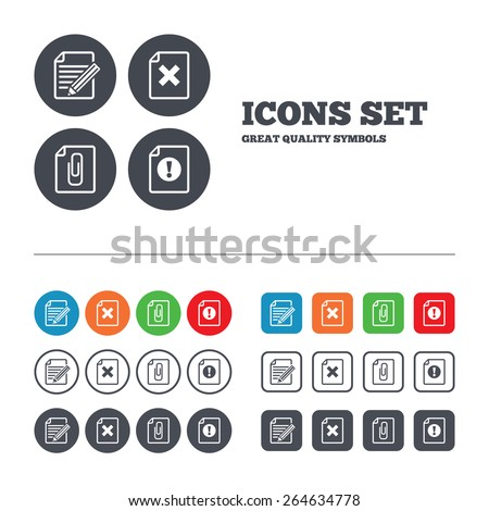 File attention icons. Document delete and pencil edit symbols. Paper clip attach sign. Web buttons set. Circles and squares templates. Vector - stock vector
