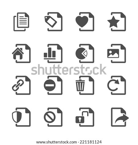 file document icon set 2, vector eps10. - stock vector