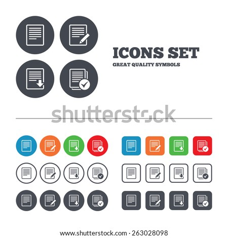 File document icons. Download file symbol. Edit content with pencil sign. Select file with checkbox. Web buttons set. Circles and squares templates. Vector - stock vector