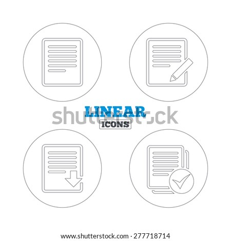 File document icons. Download file symbol. Edit content with pencil sign. Select file with checkbox. Linear outline web icons. Vector - stock vector
