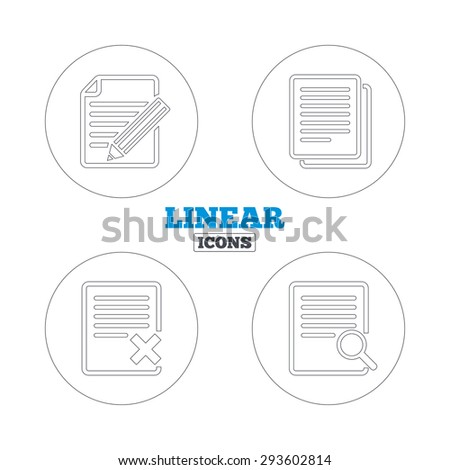 File document icons. Search or find symbol. Edit content with pencil sign. Remove or delete file. Linear outline web icons. Vector - stock vector