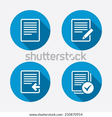 File document icons. Upload file symbol. Edit content with pencil sign. Select file with checkbox. Circle concept web buttons. Vector - stock vector