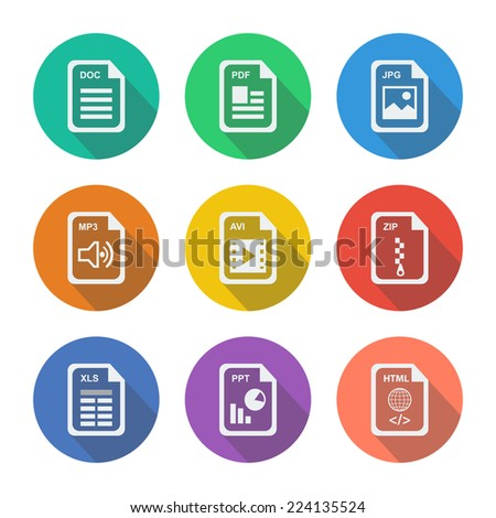 File extension set icons  - stock vector