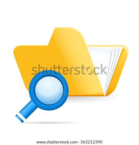 file folder and magnifying glass - web icon - stock vector