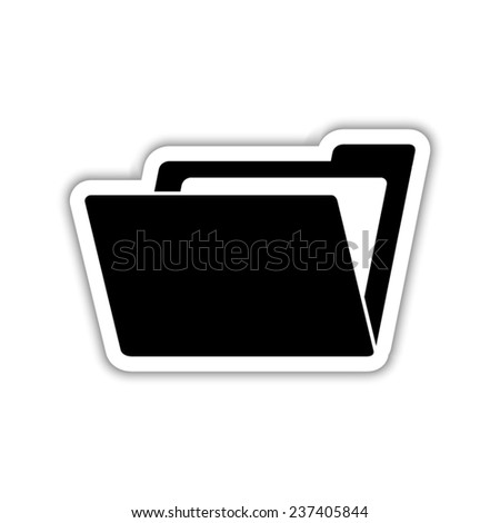 File Folder - black vector icon with shadow - stock vector
