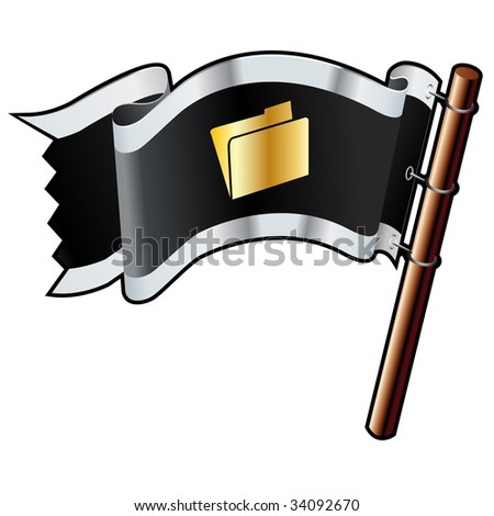 File folder icon on black, silver, and gold vector flag good for use on websites, in print, or on promotional materials