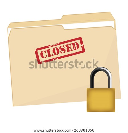 File folder with red rubber stamp closed vector icon and lock security icon, closed file folder, protection - stock vector