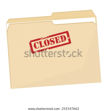 File folder with red rubber stamp closed vector icon isolated on white