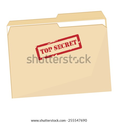 File folder with red rubber  stamp top secret vector isolated, confidential, private information - stock vector