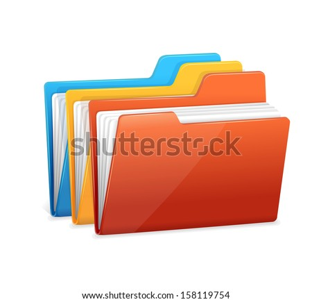 File folders icon isolated on white - stock vector