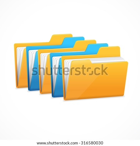 File Folders Set. The character data storage. Vector illustration