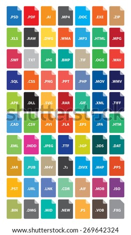File Format Icons - Document Type, Extension Flat Color Vector illustration