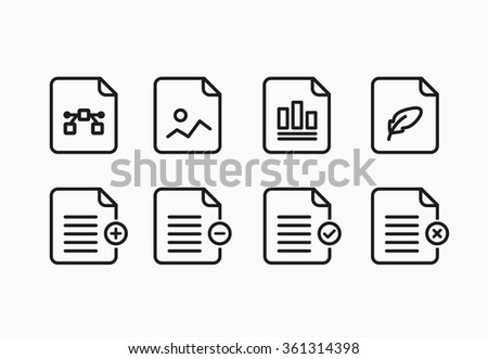 File format icons in flat style. Vector Illustration - stock vector