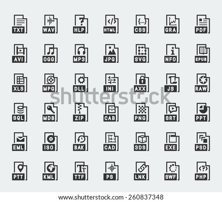 File format vector icons - stock vector