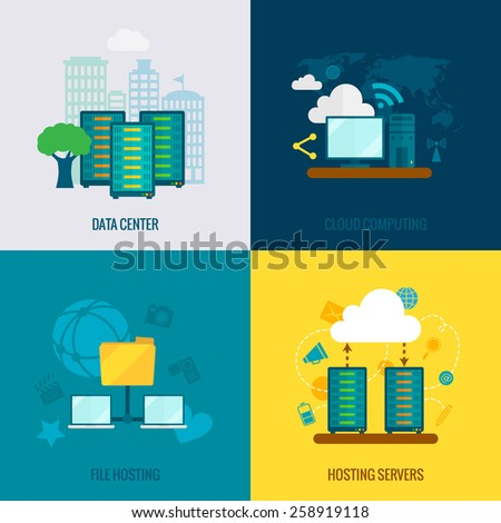 File hosting cloud storage data center users support service 4 flat icons composition abstract isolated vector illustration - stock vector