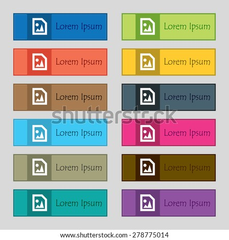 File JPG  icon sign. Set of twelve rectangular, colorful, beautiful, high-quality buttons for the site. Vector illustration - stock vector