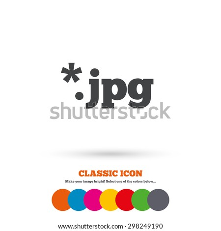 File JPG sign icon. Download image file symbol. Classic flat icon. Colored circles. Vector - stock vector