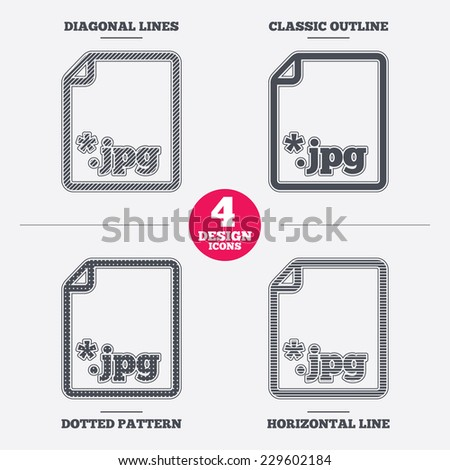File JPG sign icon. Download image file symbol. Diagonal and horizontal lines, classic outline, dotted texture. Pattern design icons.  Vector - stock vector