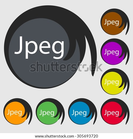 File JPG sign icon. Download image file symbol. Symbols on eight colored buttons. Vector illustration - stock vector