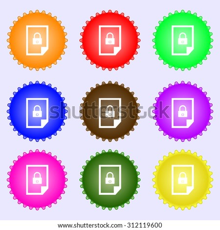 File locked icon sign. A set of nine different colored labels. Vector illustration - stock vector