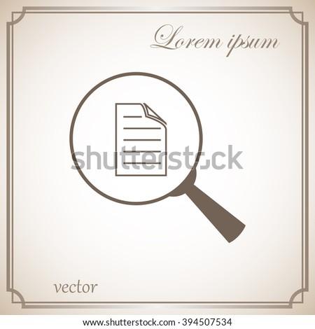 file search, sign, vector icon - stock vector