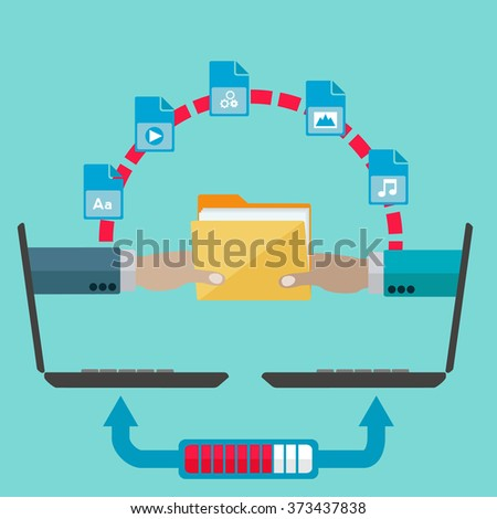 File sharing and transfer vector concept - stock vector