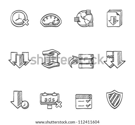 File sharing icon series in sketch - stock vector