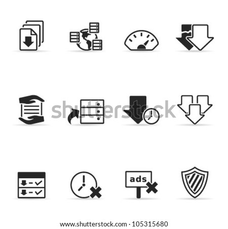 File sharing icon set. Transparent shadows placed on separated layer. - stock vector