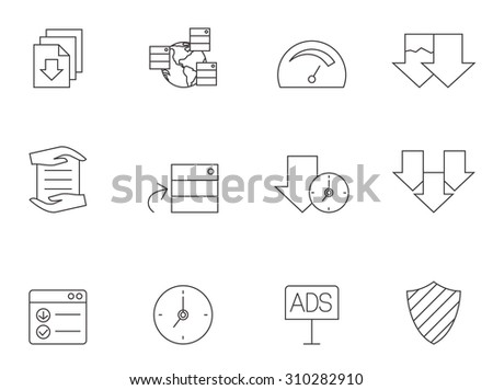 File sharing icons in thin outlines. File hosting, upload, download. - stock vector