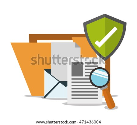 file shield envelope document lupe cyber security system technology icon. Flat design. Vector illustration