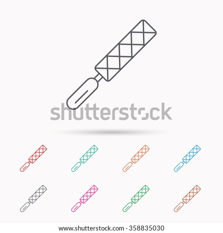 File tool icon. Carpenter equipment sign. Linear icons on white background. - stock vector