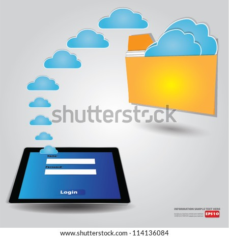 File transfer,cloud connected,Vector - stock vector