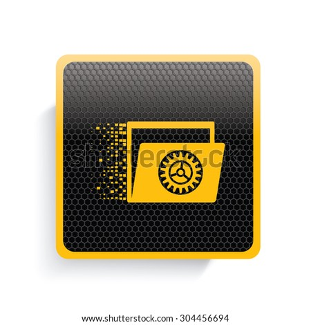 File transfer icon design,yellow version,clean vector - stock vector
